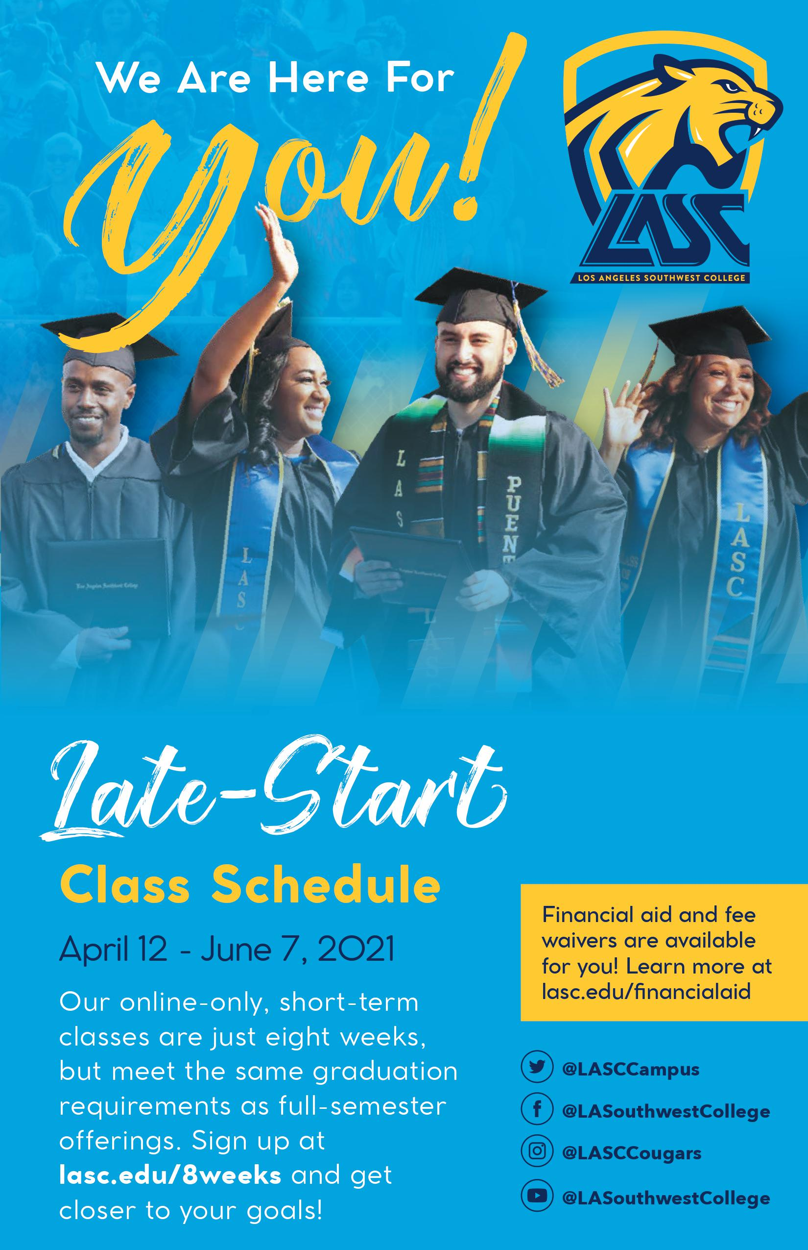 Class schedule for 2020 Late Start Classes